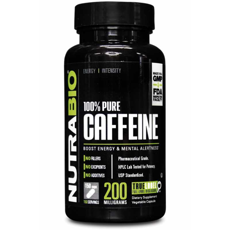 NutraBio Caffeine (200mg) - 150 Vegetable Capsules