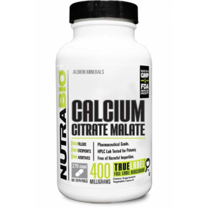 NutraBio Calcium Citrate Malate - 270 Vegetable Capsules