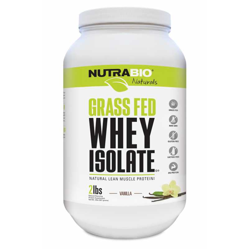 NutraBio Grass Fed Whey Isolate - 2lbs