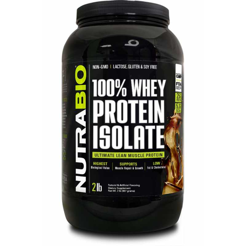 NutraBio 100% Whey Protein Isolate - 2lbs
