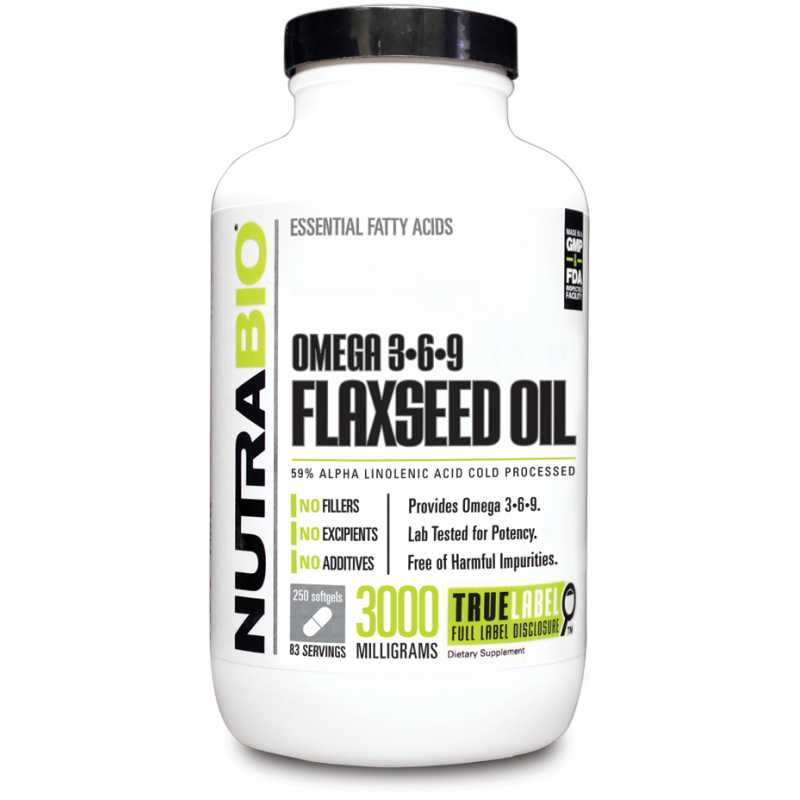 NutraBio Omega3-6-9 Flaxseed Oil (1000mg) - 250 Softgels