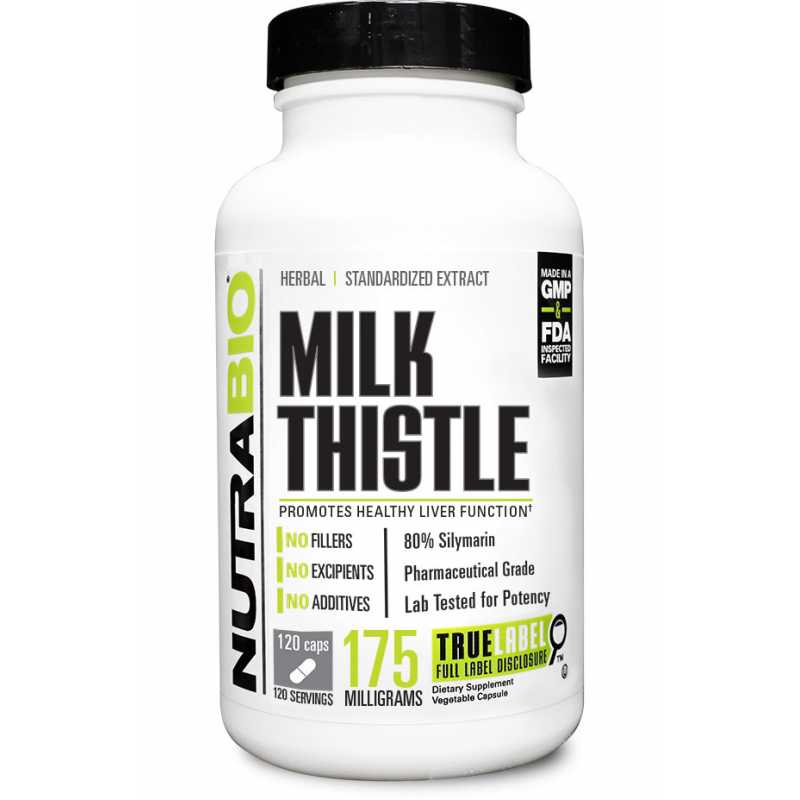 NutraBio Milk Thistle (175mg) - 120  Vegetable Capsules