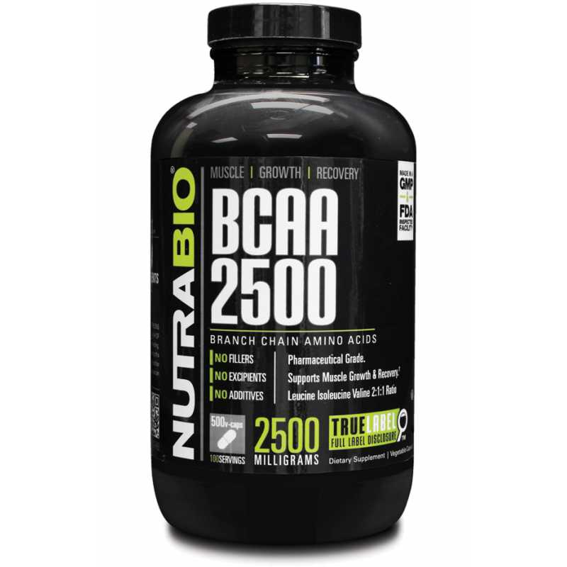NutraBio BCAA 2500 支链氨基酸 - 500粒蔬菜胶囊