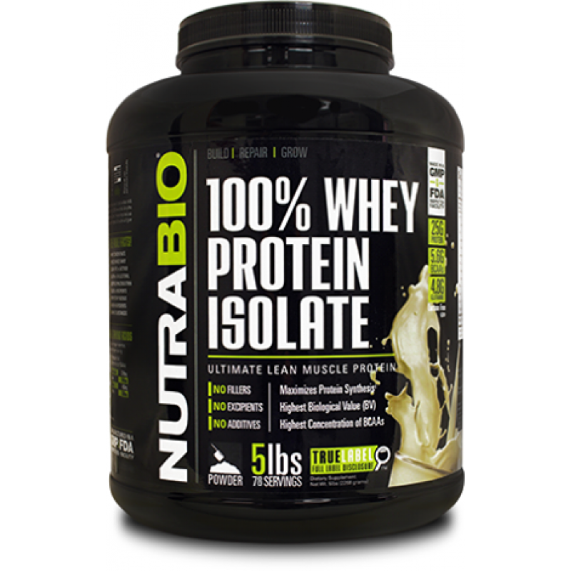 NutraBio 100% Whey Protein Isolate - 5lb
