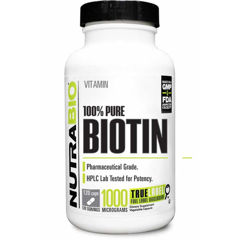NutraBio Biotin (10000 mcg) - 120 Vegetable Capsules