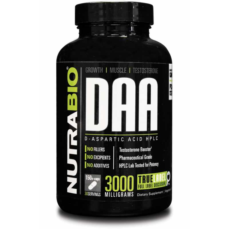 NutraBio D-Aspartic Acid (600mg) - 150 Vegetable Capsules