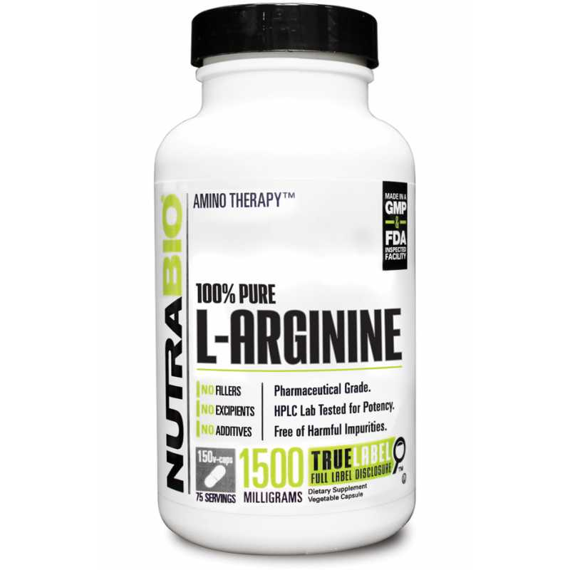 NutraBio L-Arginine (750mg)  - 150 Vegetable Capsules