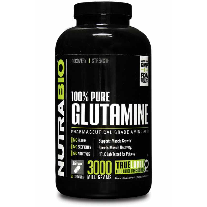 NutraBio Glutamine - 360 Vegetable Capsules