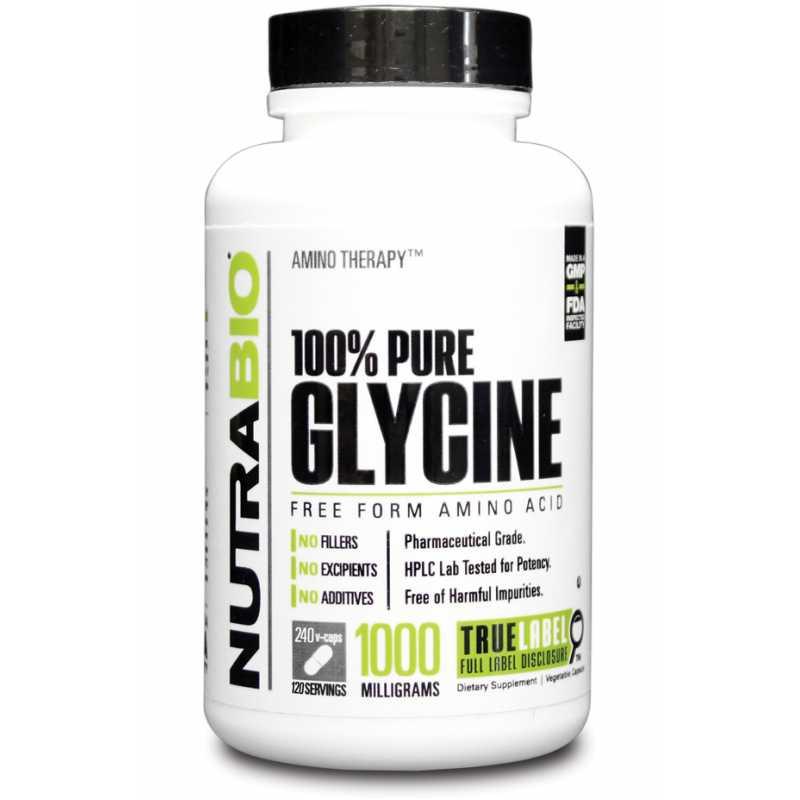 NutraBio 100% Pure Glycine 甘氨酸 - 240粒蔬菜胶囊