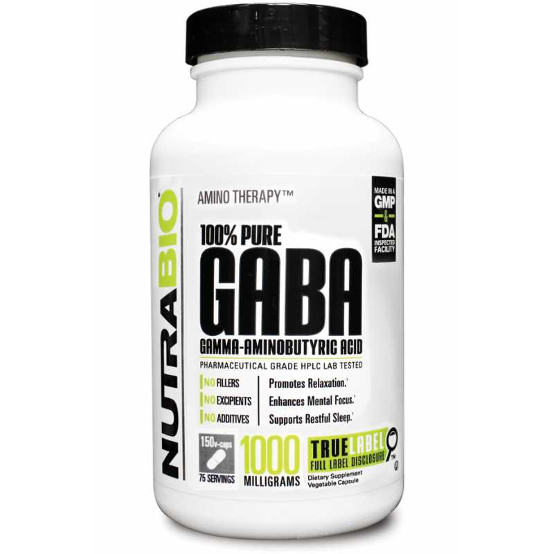 NutraBio GABA (500 mg) - 150 Vegetable Capsules