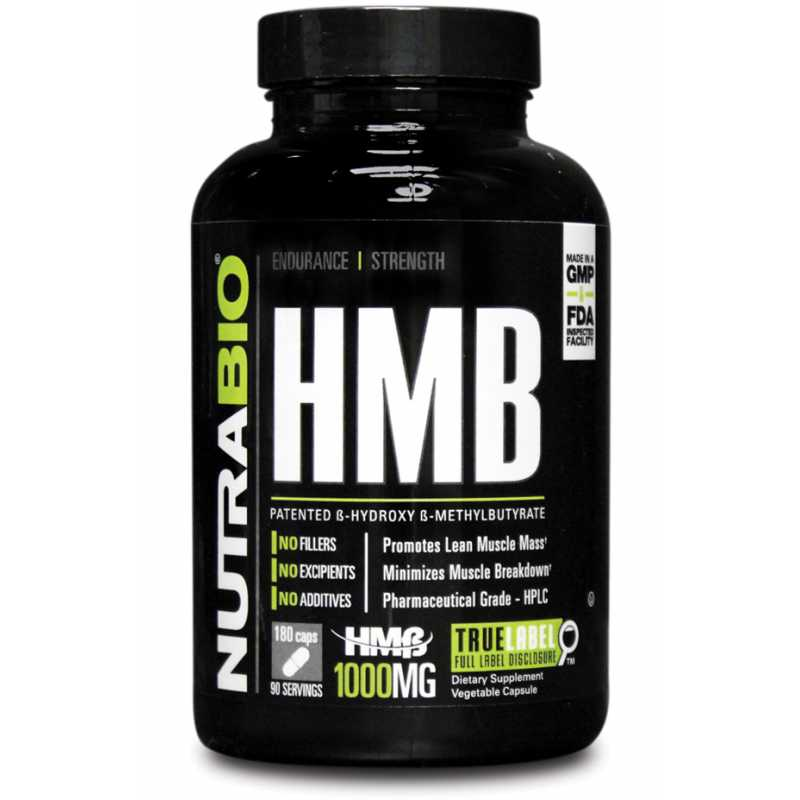 NutraBio HMB (1000mg) 肌肉保護神 (1000亳克) - 180粒蔬菜膠囊