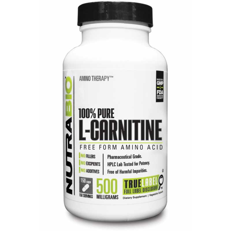 NutraBio L-Carnitine (500mg) - 150 Vegetable Capsules
