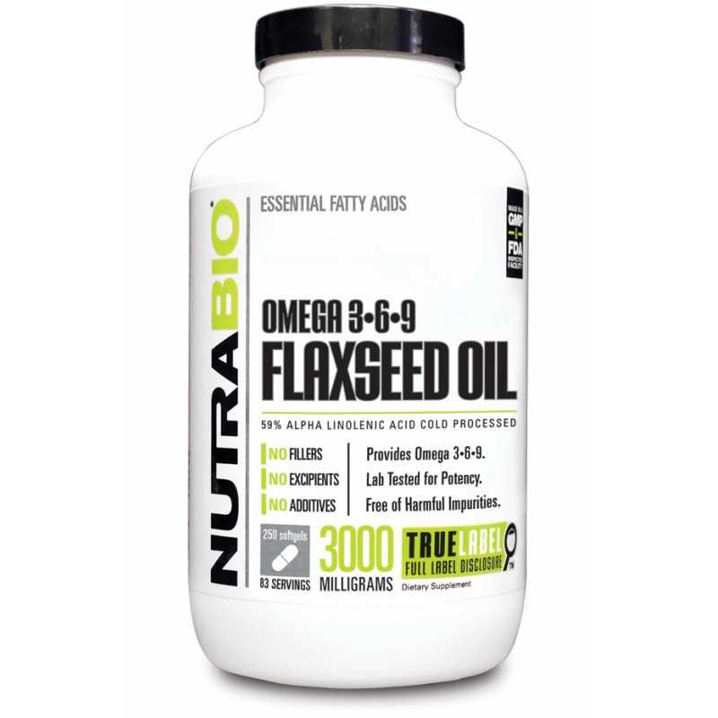 NutraBio Omega3-6-9 Flaxseed Oil (1000mg) 欧米茄3-6-9亚麻籽油 (1000亳克) - 250粒软胶囊