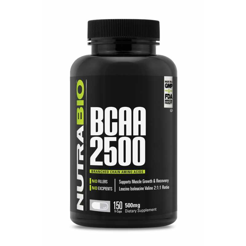 NutraBio BCAA 2500 - 150 Vegetable Capsules