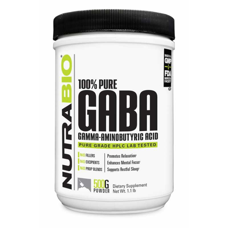 NutraBio GABA Powder 氨基丁酸粉 - 500克