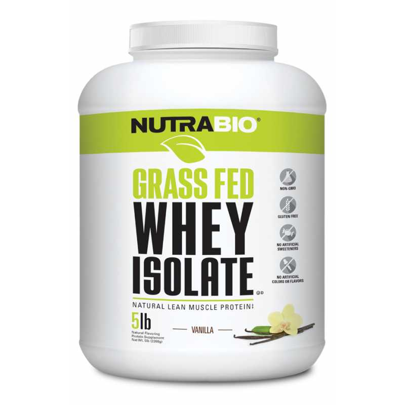 NutraBio Grass Fed Whey Isolate - 5lbs
