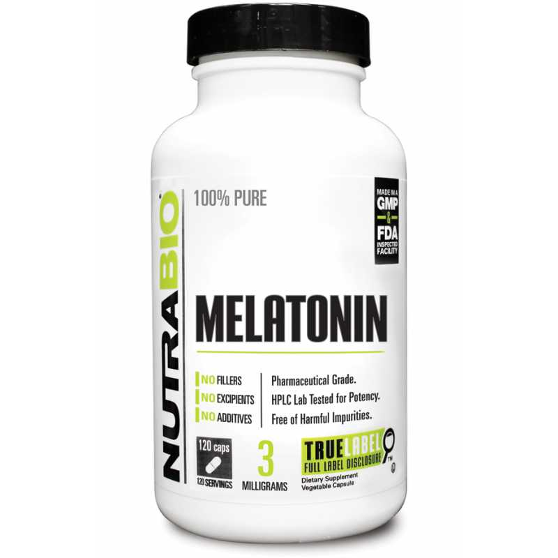NutraBio Melatonin (3mg) - 120 Vegetable Capsules