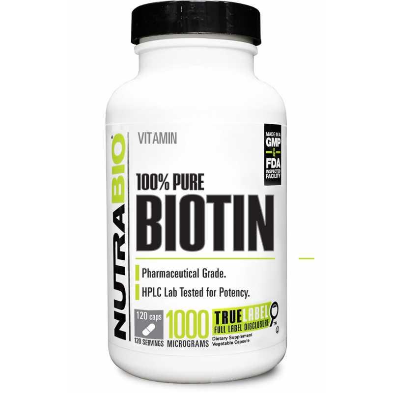 NutraBio Biotin (10000微克) - 120粒蔬菜胶囊