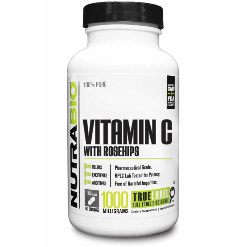NutraBio Vitamin C with Rose Hips - 150 Vegetable Capsules