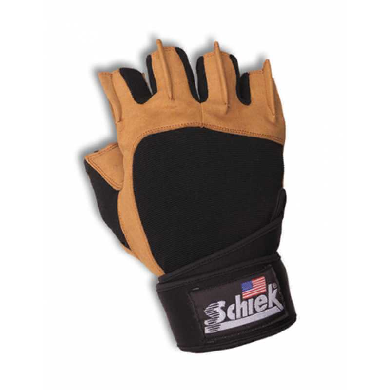 Schiek Power Series Lifting Gloves with Wrist Wraps 男士健美半指手套防滑加长护腕